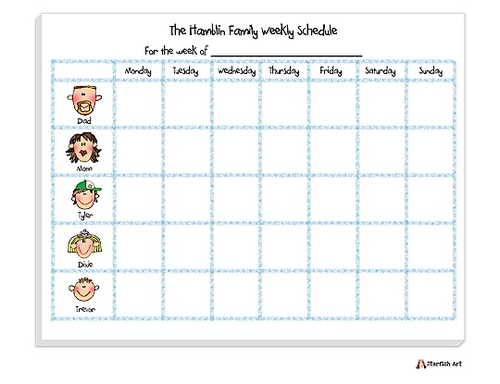 Calendar Planner In Asp : Family weekly calendar daily planner notepads printswell