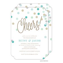 Cheers Confetti Blue Engagement Invitations