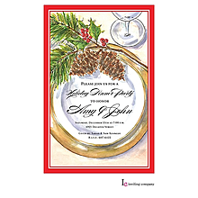 christmas engagement evergreen placesetting party invitations