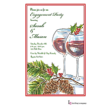 christmas engagement holly toast party invitations