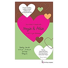 stiched heart Valentine's Day party invitations