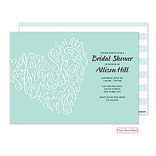Valentine's Day party invitations script heart Blue