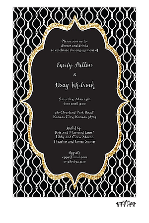 Bold Glittery Black Engagement Party Invitations