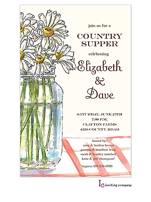 mason jar country engagement party invitations