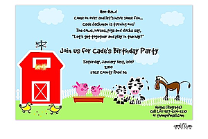 Barnyard and Petting zoo party invitations NEW selections Winter 2017