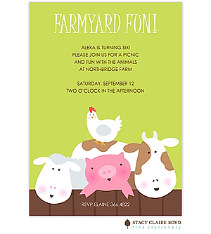 Barnyard and Petting zoo party invitations NEW selections ...