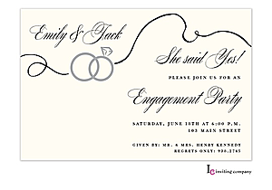 Swirl Rings Engagement Party Invitations