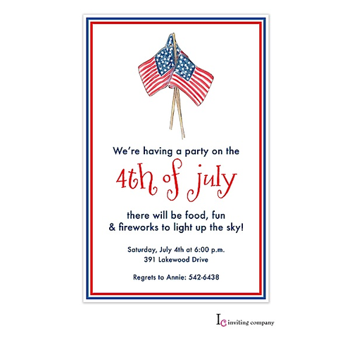 4th Of July Flags Party Invitations